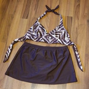 St. John's Bay Brown Reversible Bikini Swim Skirt